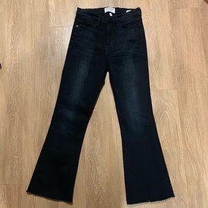 'Le High Flare' Raw Edge High Rise Crop Jeans